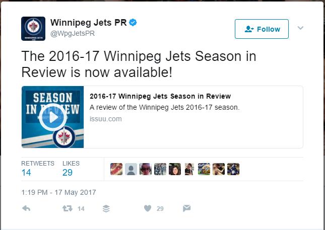 Winnipeg Jets Pr On Twitter The 2016 17 Winnipeg Jets Season In Review Is Now Available Https T Co 9 R8F S1 Cxe6